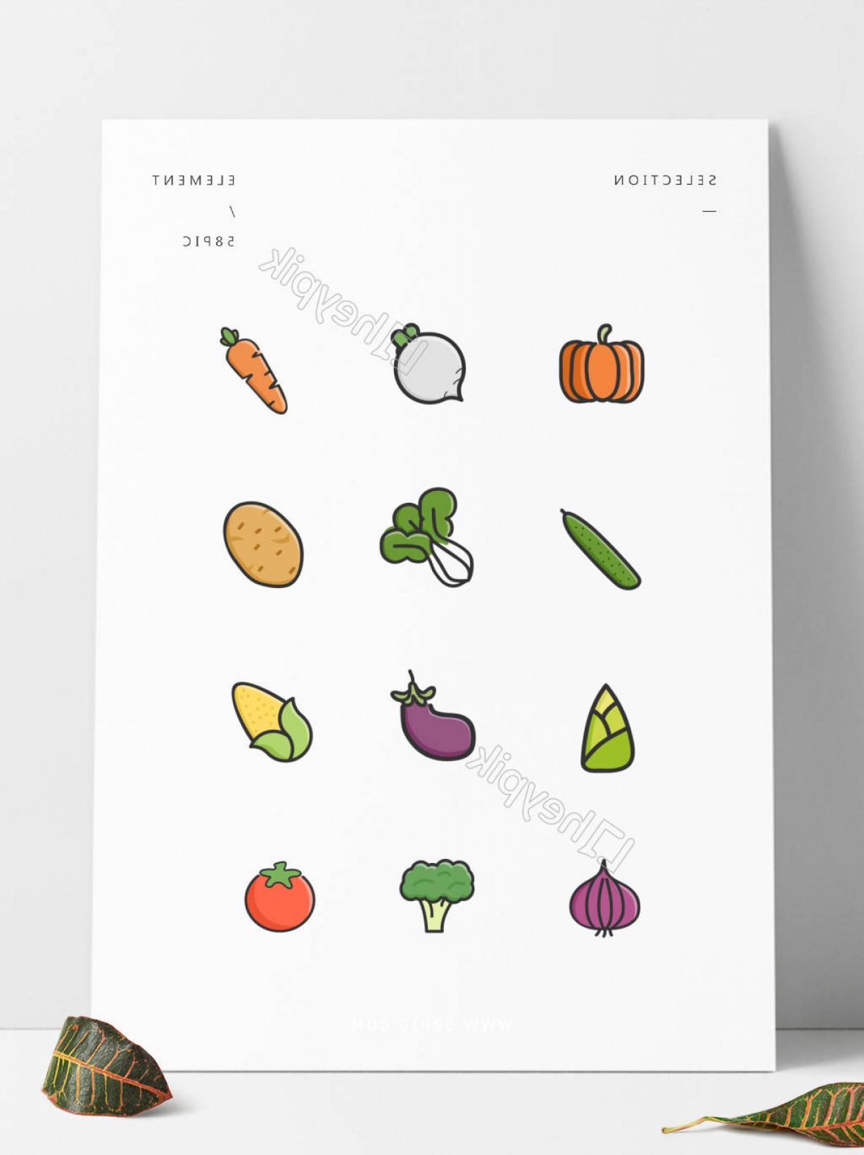 Vector Boutique: Cute Minimalist Fruits Vegetables Colorful Vector Boutique Design Icon Elementsur