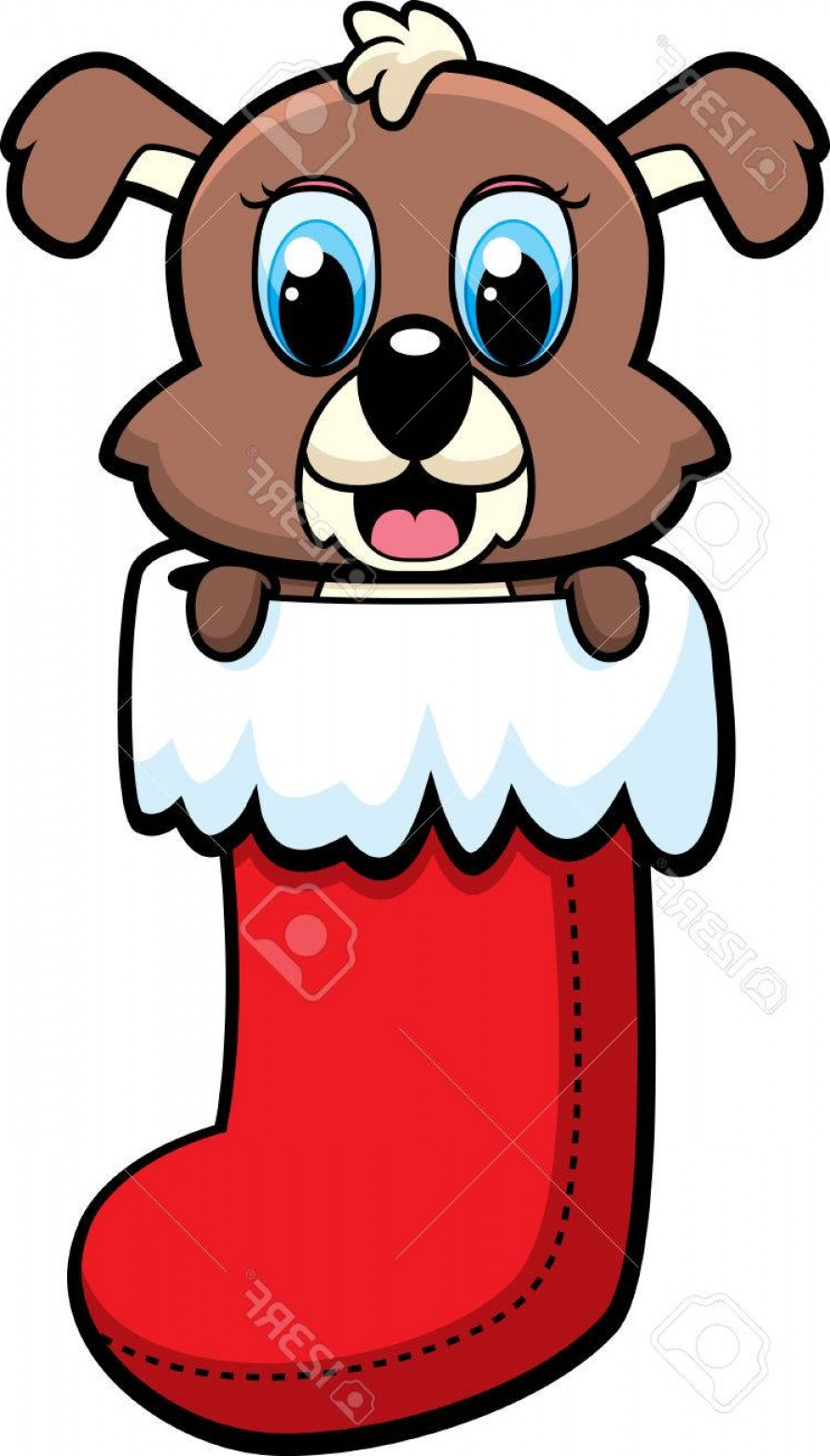 Stocking Hat Vector: Cute Photostock Vector A Happy Cartoon Puppy In A Christmas Stocking