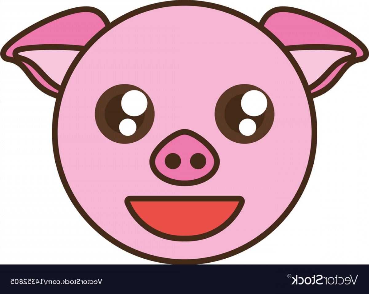 Vector Pig Nose: Cute Pig Face Kawaii Style Vector