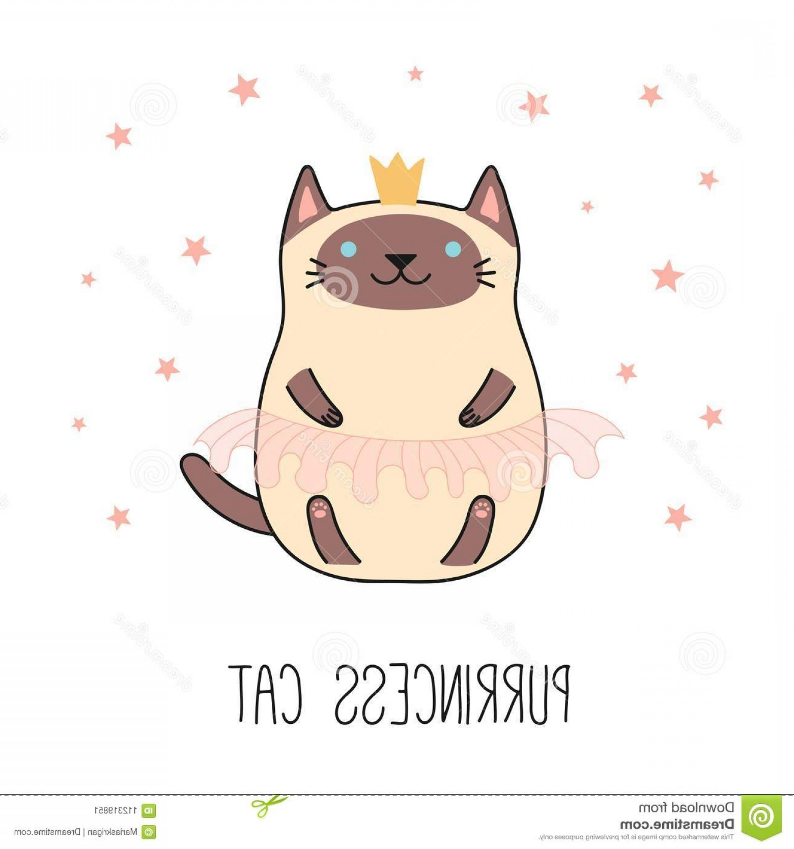 Siamese Cat Vector Transparent Background: Cute Princess Cat Hand Drawn Vector Illustration Kawaii Funny Siamese Crown Pink Ballet Tutu Isolated Objects White Image