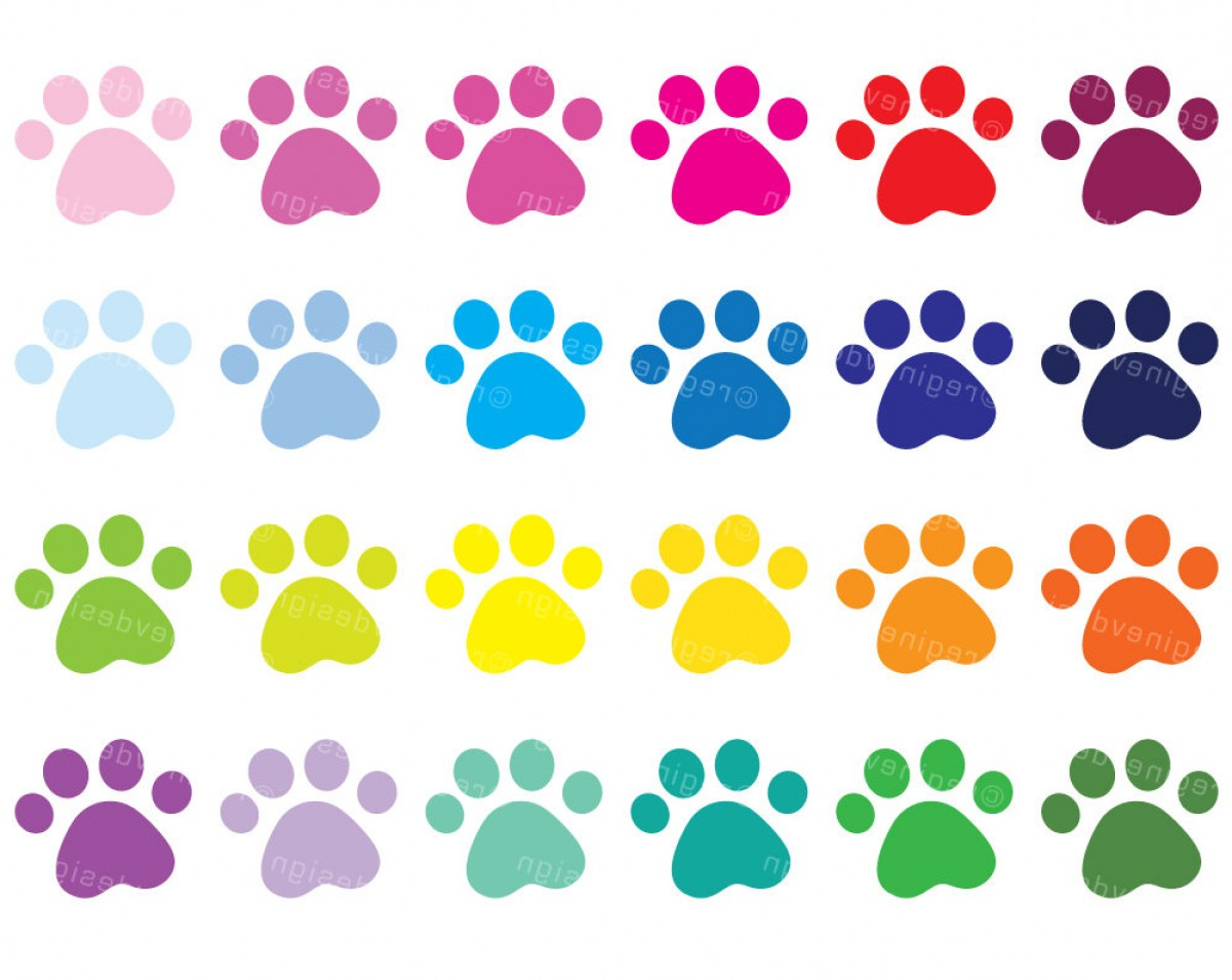 Vector Paw Decals: Cute Puppy Paw Print Clipart Dog Paws