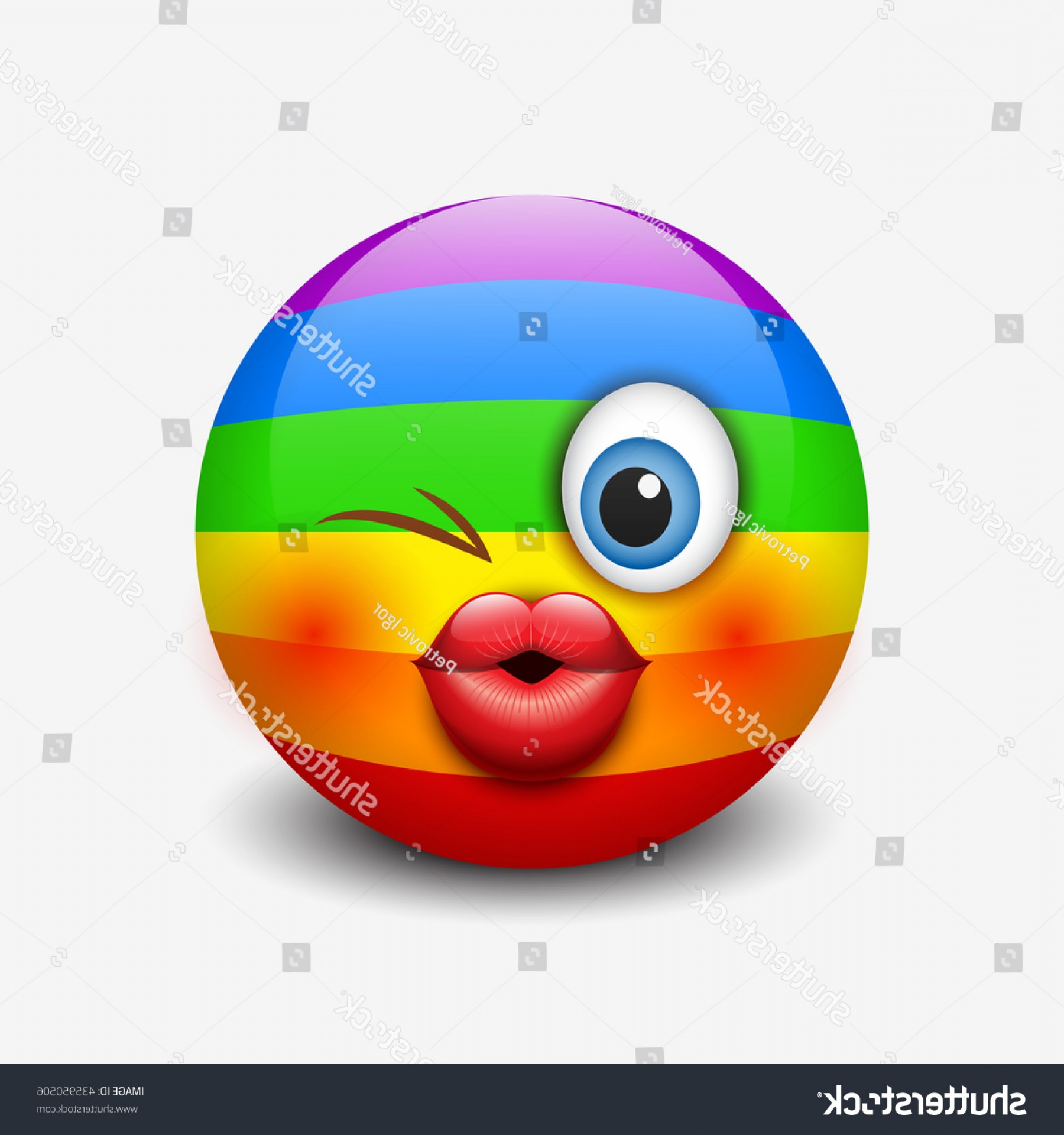 Rainbow Face Emoji Vector: Cute Rainbow Kissing Emoticon Emoji Smiley