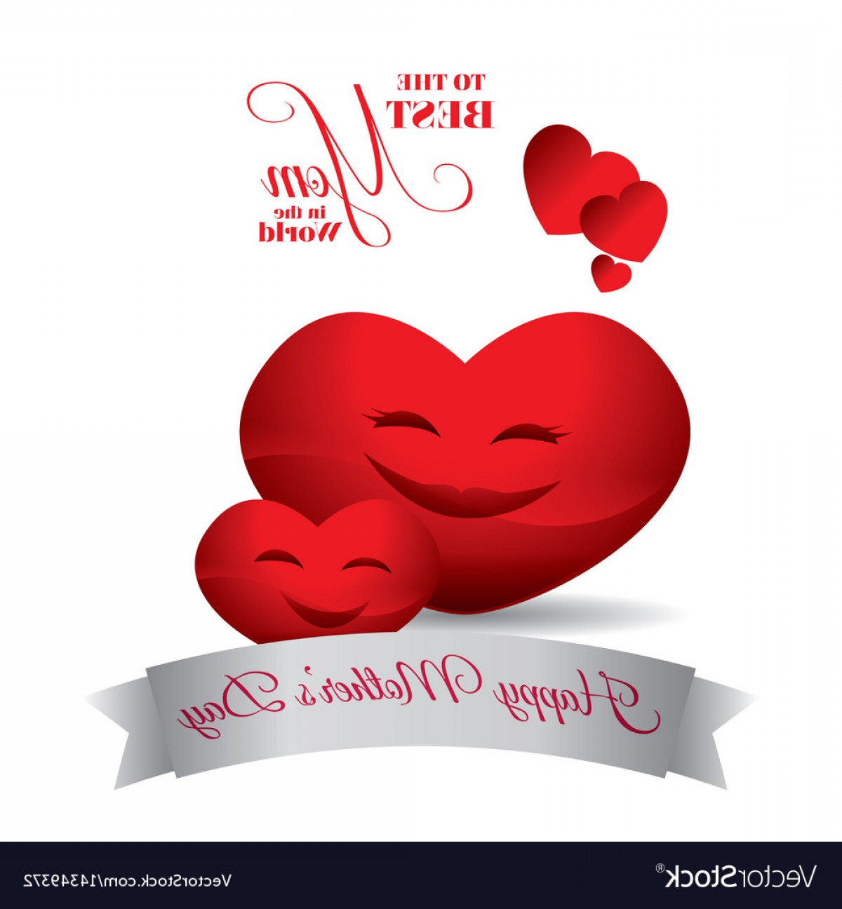 Heart Card Vector: Cute Red Hearts Hapy Mothers Day Best Mom Card Vector