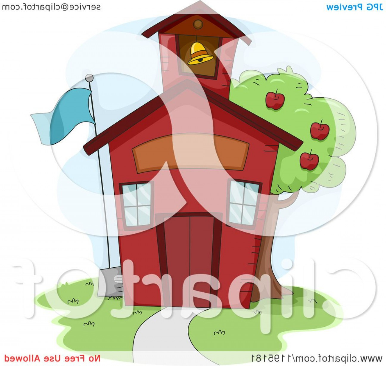 Vector Clip Art Red Schoolhouse: Cute Red School House With An Apple Tree