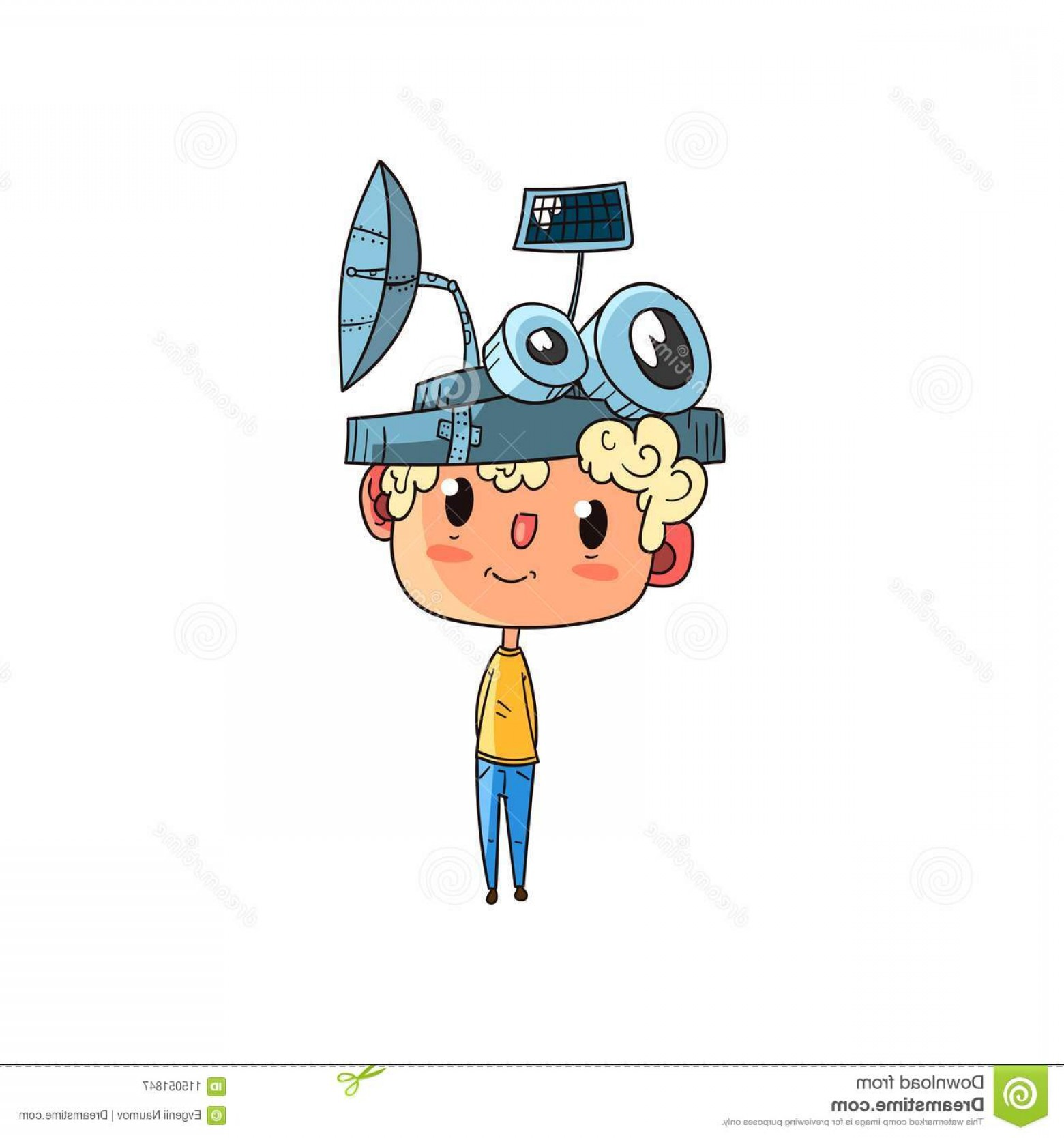 Woman Physics Adding Vectors: Cute Scientist Boy Character Working Physics Science Experiment Funny Kid Fantastic Headdress Antennas Vector Image