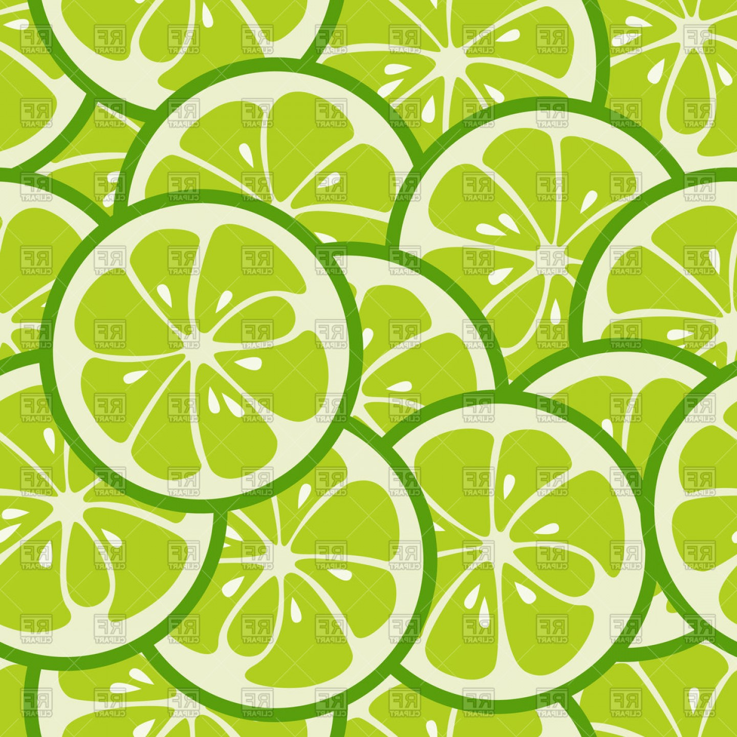 Lime Wedge Vector Art: Cute Seamless Pattern With Green Lime Slices Vector Clipart