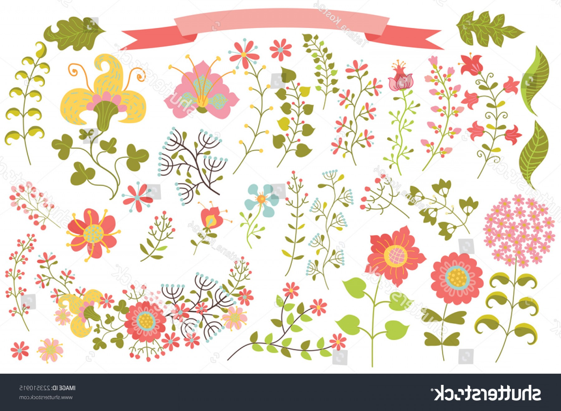 Cute Design Elements Vector Set: Cute Set Floral Stylized Elements Vector