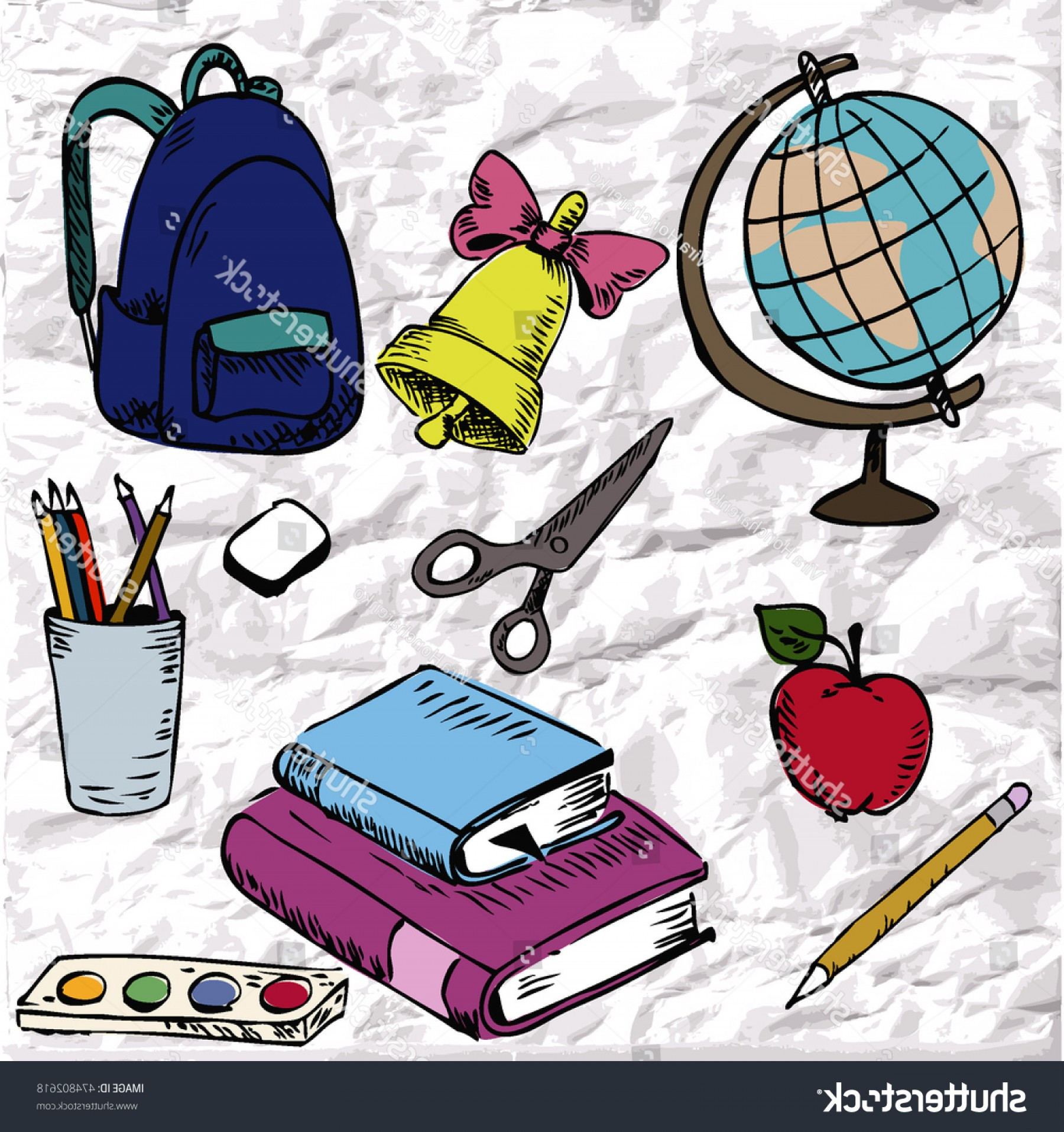 Individual School Supplies Vector: Cute Set Sketch School Supplies Vector