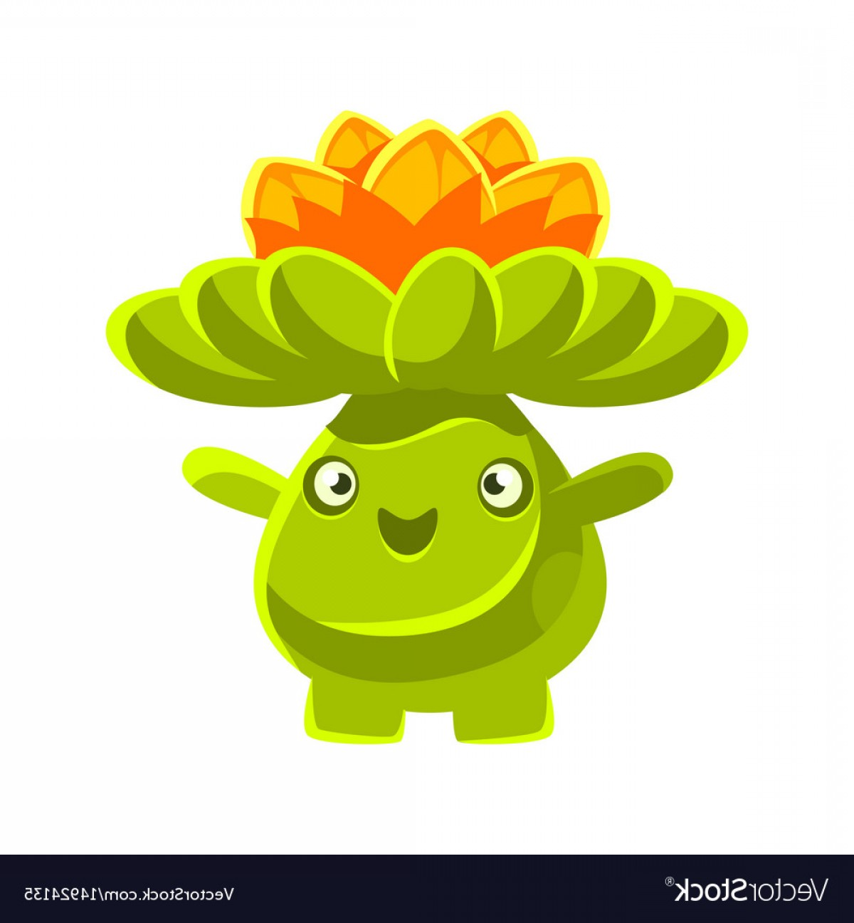 Cactus And Flower Vector: Cute Smiling Cactus Emoji With Flowers On His Head Vector