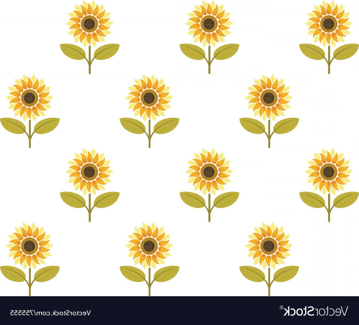 Sunflower Vector Pattern: Cute Sunflower Seamless Pattern Vector
