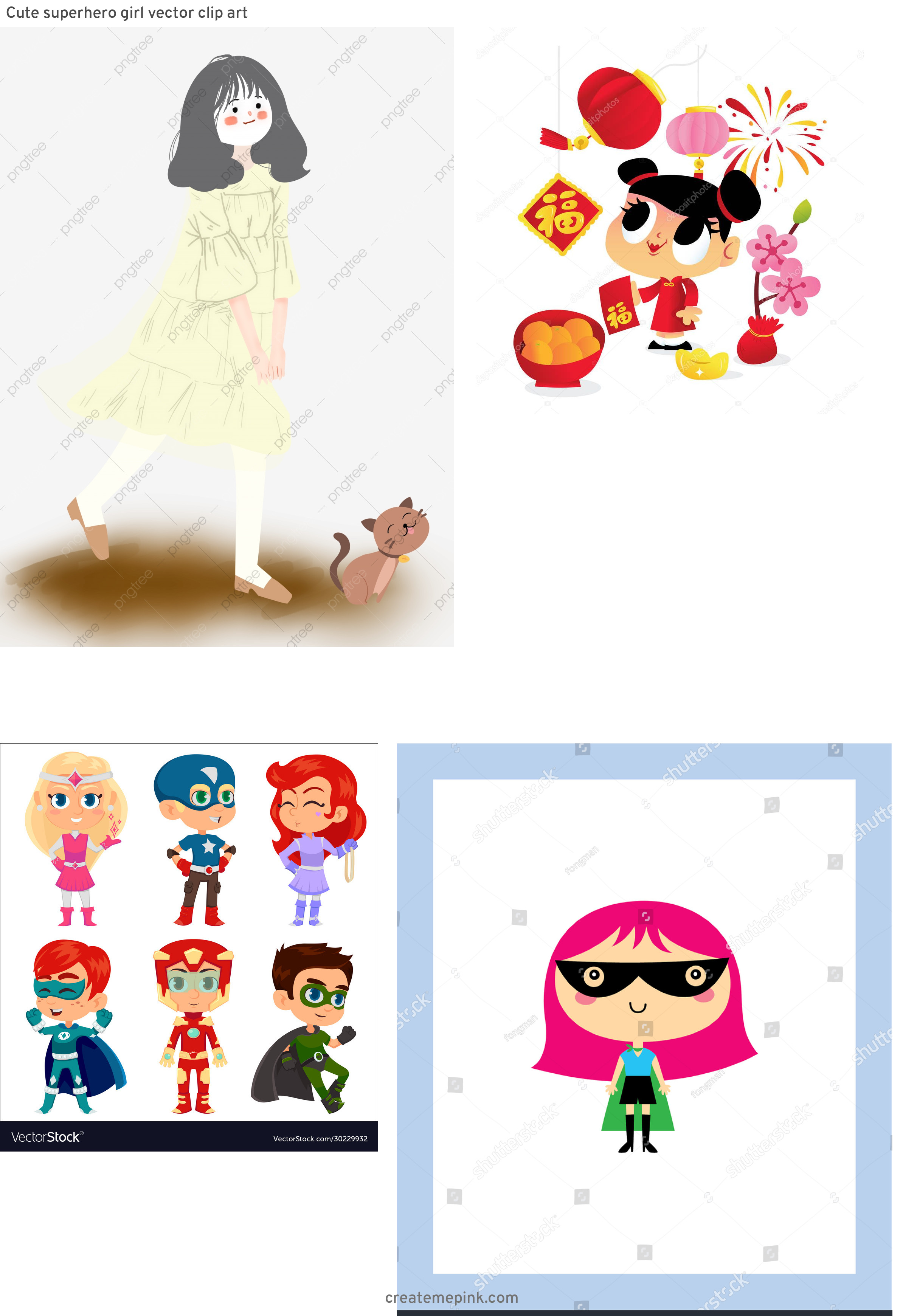 Super Cute Cartoon Girl Vector: Cute Superhero Girl Vector Clip Art