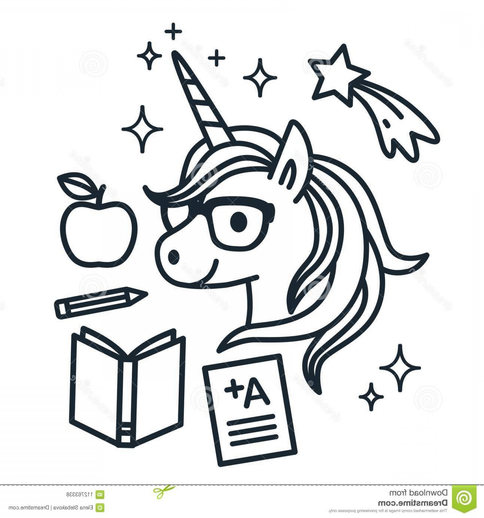 School Themed Vector: Cute Unicorn Wearing Eyeglasses School Themed Icons Around Single Color Outline Vector Illustration Simple Line Doodles Image