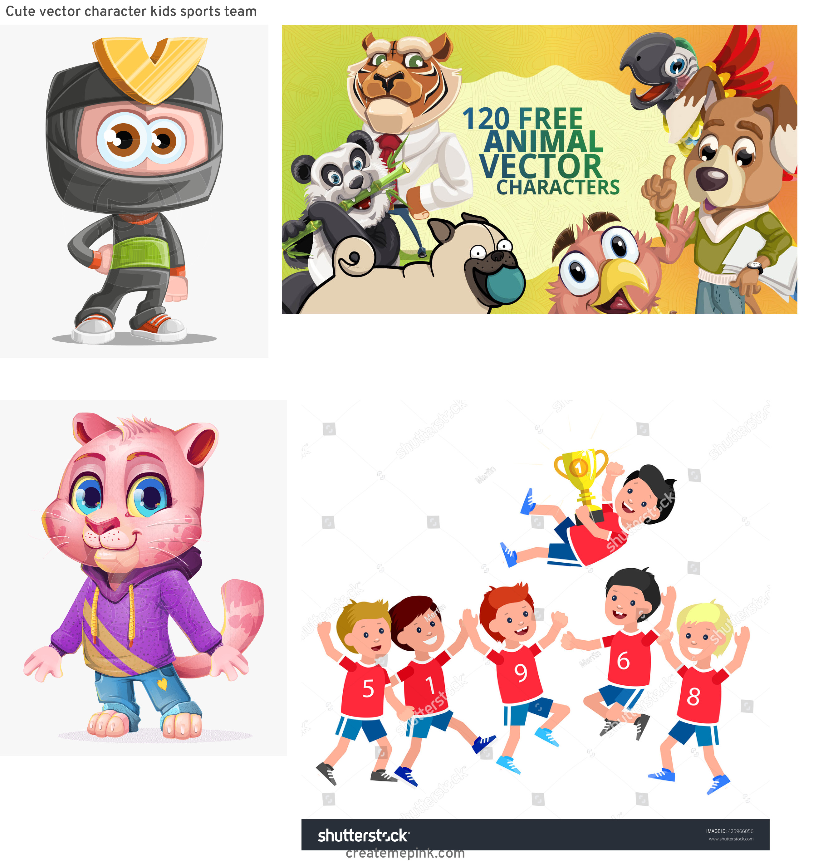 Vute Vector Character: Cute Vector Character Kids Sports Team