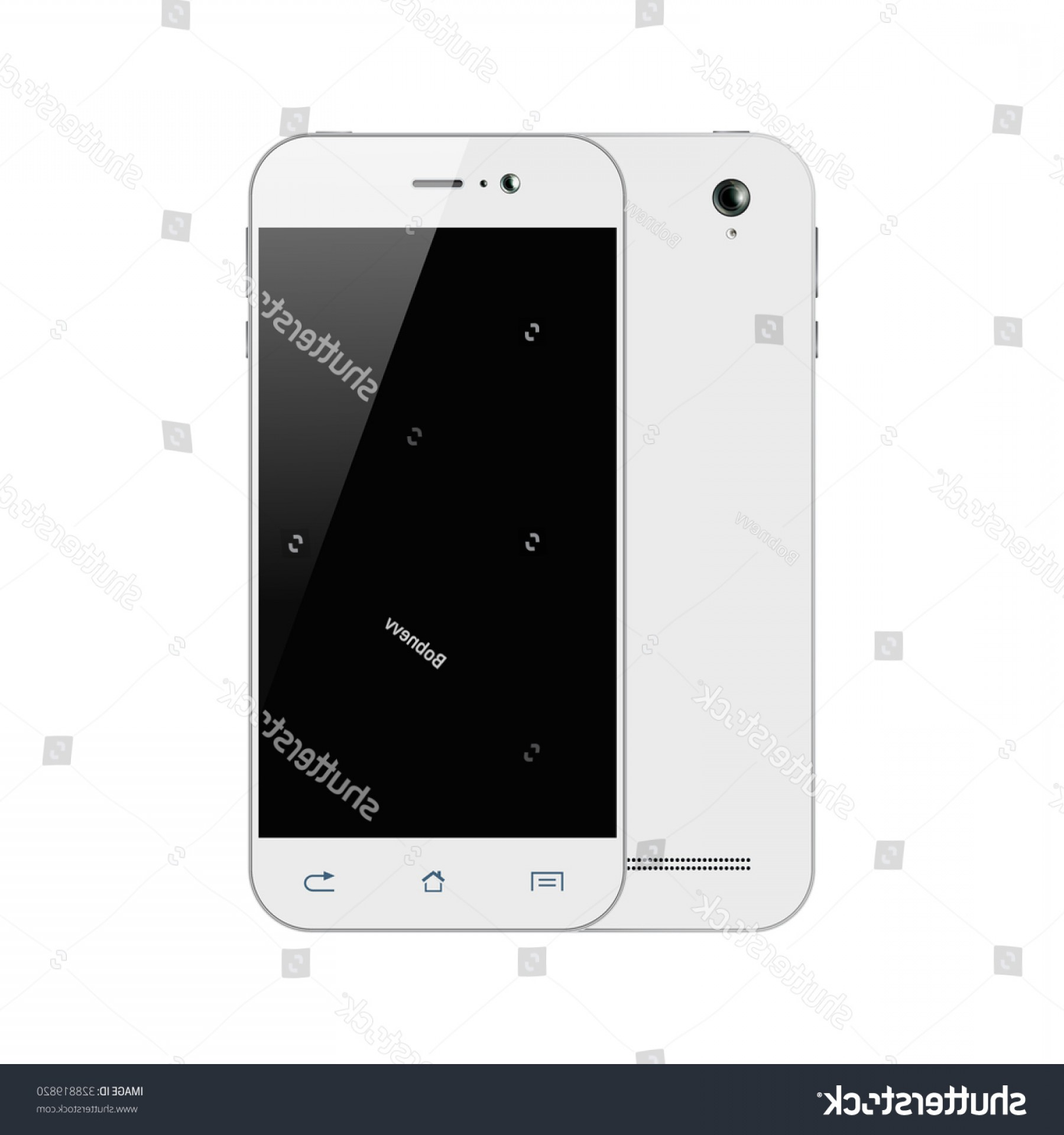 IPhone 8 Vector Front Back: Cute Vector Smart Phones Isolated White Smartphone