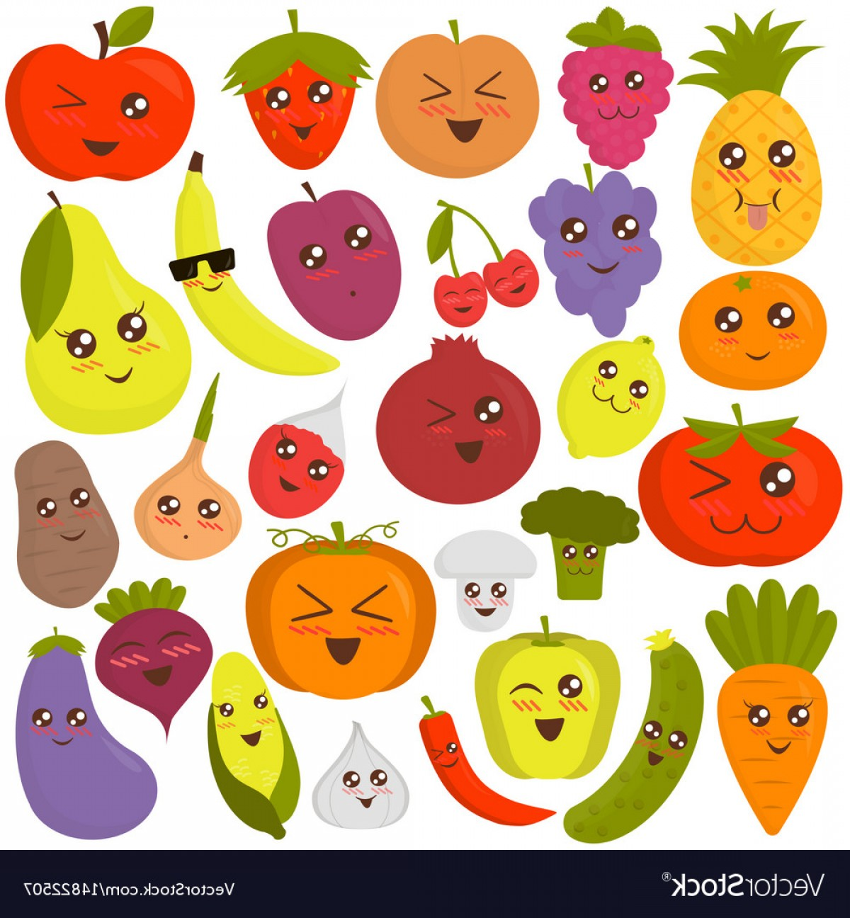 Vector Fruit Vegetable: Cute Vegetables And Fruits Vector