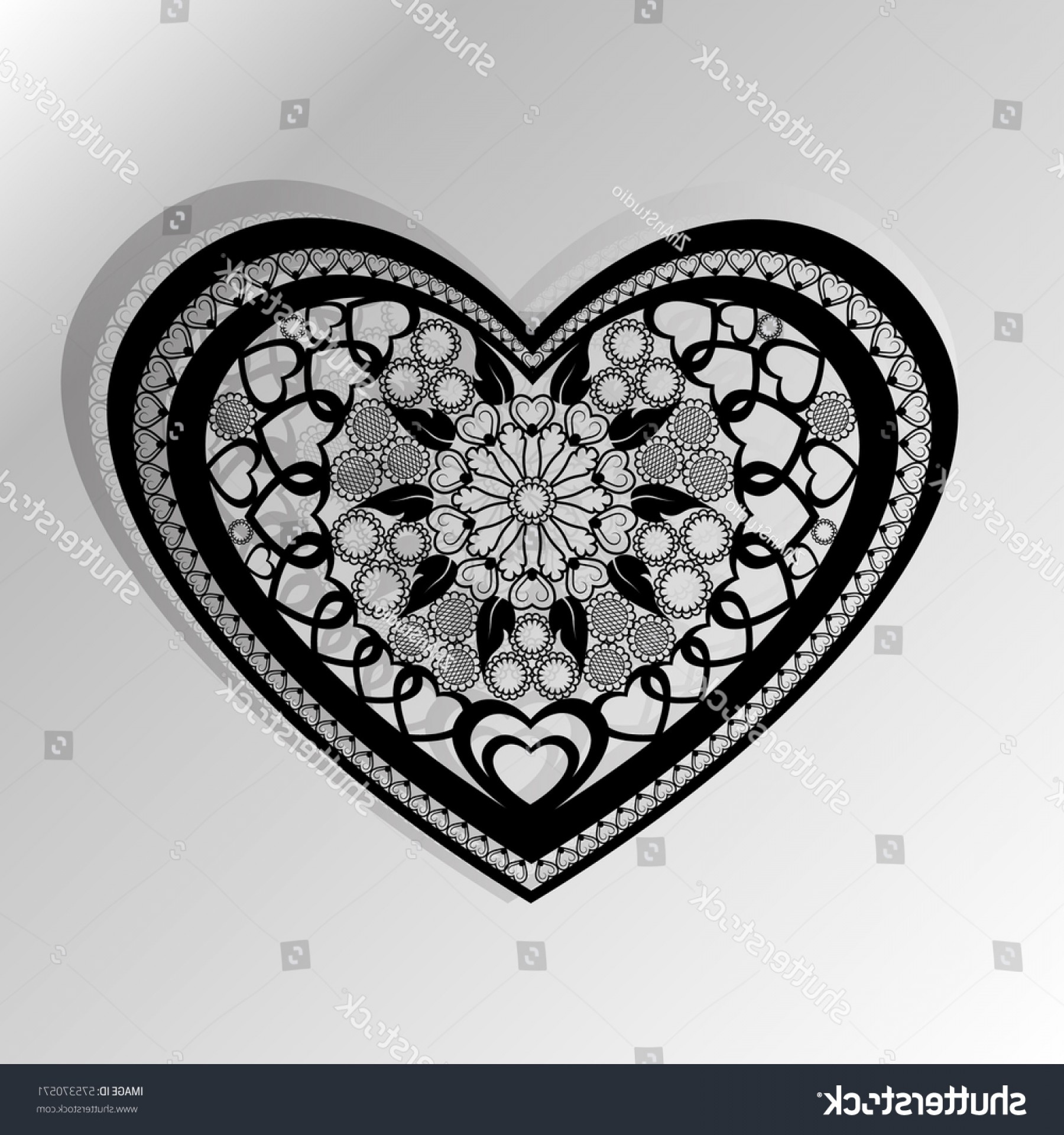 Vector Filigree Heart: Cutting Card Laser Cut Heart Vector
