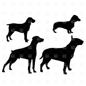 Pointer Dog Vector: Curious Smiling Dog With Red Heart Kurzhaar German Shorthair Pointer Vector Clipart