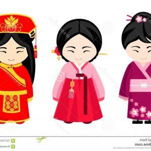 Chinese Geisha Pin Up Vector Art: Cute Asian Girls National Dress Japanese Chinese Korean Women Vector Illustration Image