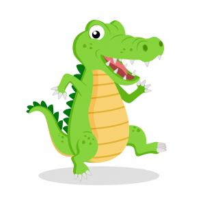 Cartoon Alligator Silhouette Vector: Cute Cartoon Crocodile Alligator On White Background Vector Illustration
