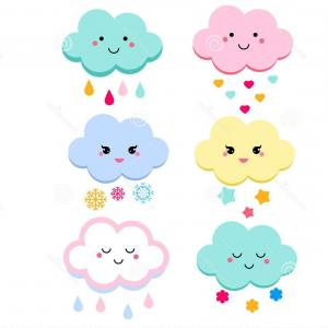 Cloud Vector Designs: Cute Clouds Vector Illustration Kids Isolated Design Children Stickers Baby Shower Clouds Kawaii Style Cute Clouds Vector Image