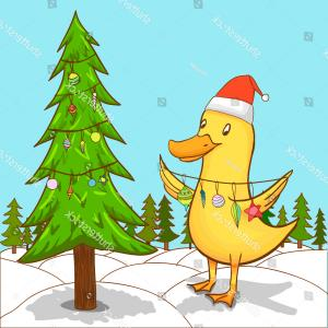 Oregon Ducks Vector: Cute Duck Decorating Christmas Tree Greeting