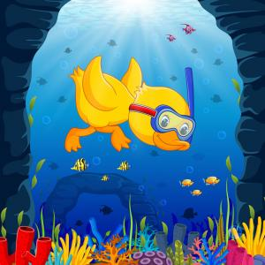 Underwater Sea Vector Art: Cute Duck Snorkeling Underwater Sea Vector