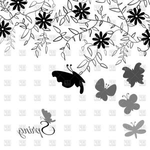 Butter Fly And Flower Vector Black And White: Flowing Curving Design Of Flying Butterflies Vector