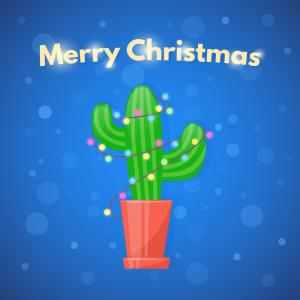 Christmas Cactus Vector Black: Cute Little Cactus Illustration Vector On White Background