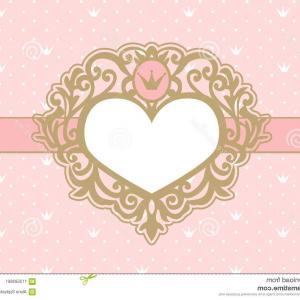 Open Heart Frame Vector: Cute Pink Background Polka Dots Crown Luxury Gold Photo Frame Shape Heart Princess Royal Invitation Card Image