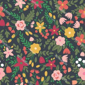 Free Vintage Vector Desktop Wallpaper: Cute Seamless Pattern Flowers Vector Can