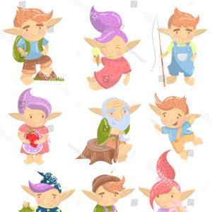 Characyers Trolls Vector: Cute Troll Characters Set Funny Creatures