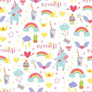 Baby Vector Pattern: Cute Unicorn Baby Vector Seamless Pattern Background Illustration Magic Rainbow Fantasy Fairy Design Beautiful Fairytale Cute Image