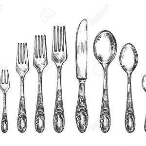 Fork Vector Retro: Cutlery Set With Knifes Spoon And Fork Vector Vintage Engraving Gm