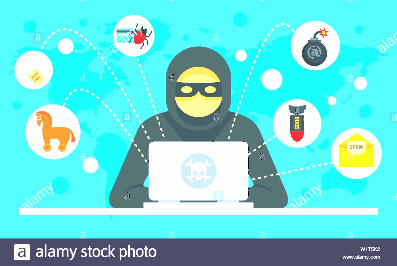 Internet Attack Vectors: Cyber Attack Concept Background Flat Illustration Of Cyber Attack Vector Concept Background For Web Design Image
