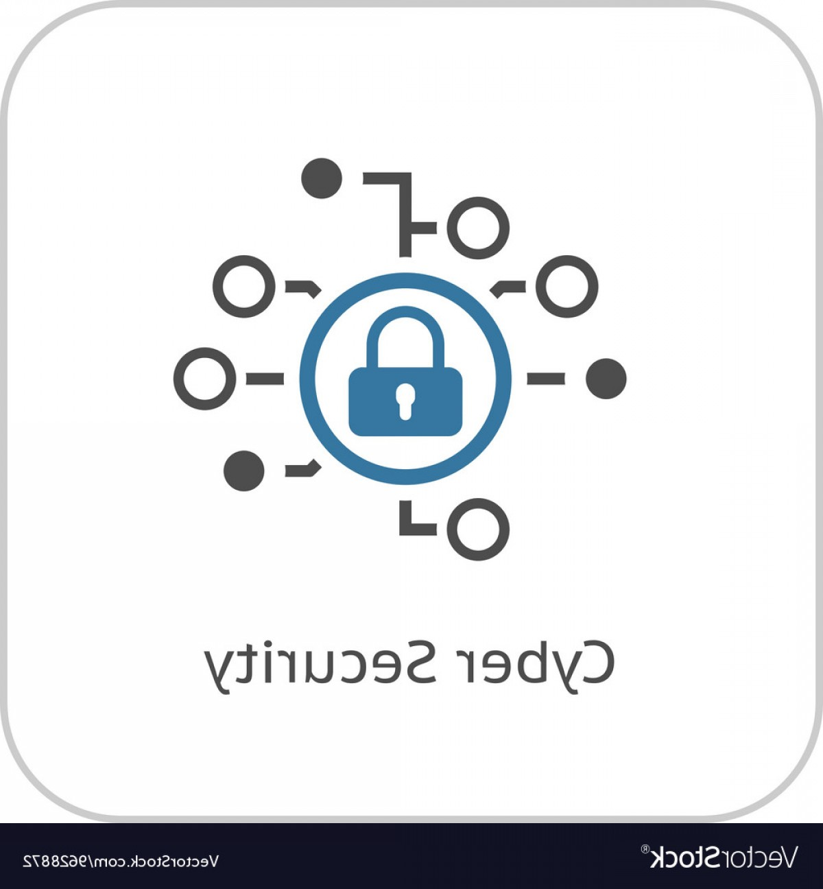 Cyber Defense Vector: Cyber Security Icon Flat Design Vector