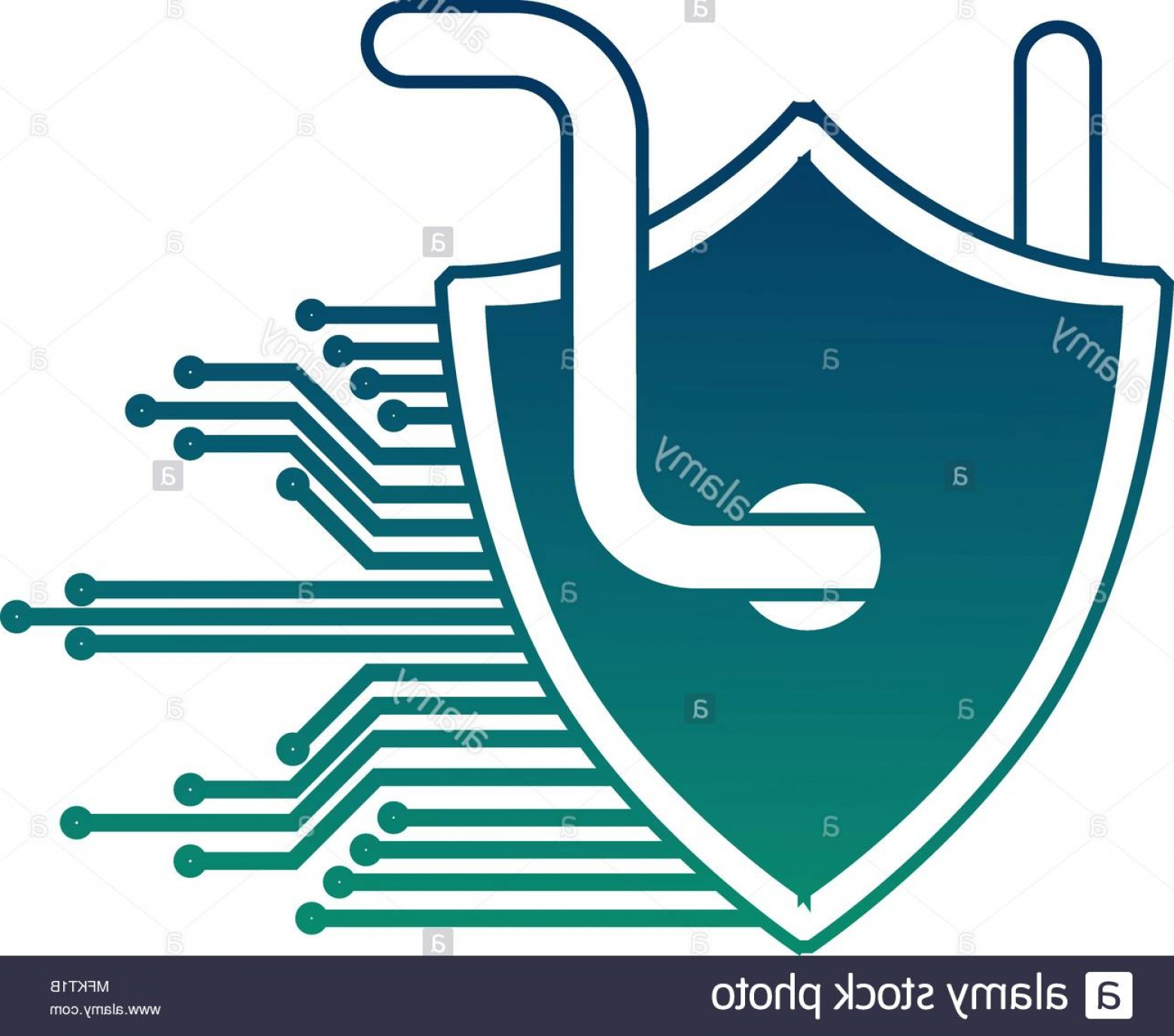 Cyber Defense Vector: Cyber Security Shield Protection Worm Virus Circuit Technology Hacking Image