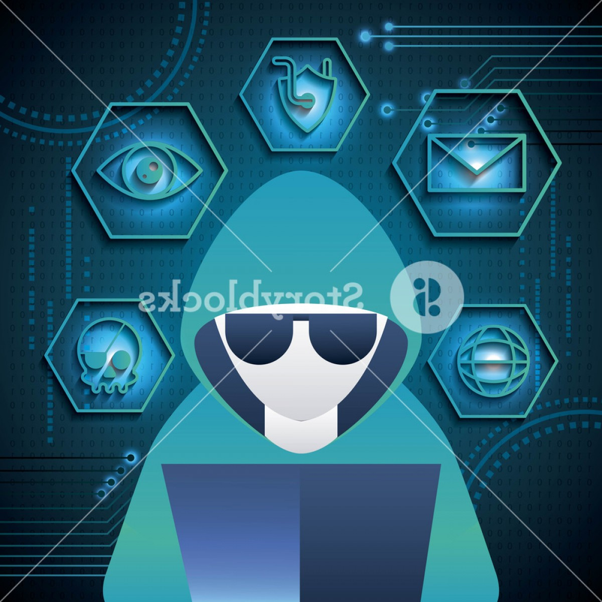 Cyber Defense Vector: Cyber Security Technology Hacker Computer Skull Piracy Crime Shield Protection Vector Illustration Sbcnziizjgox