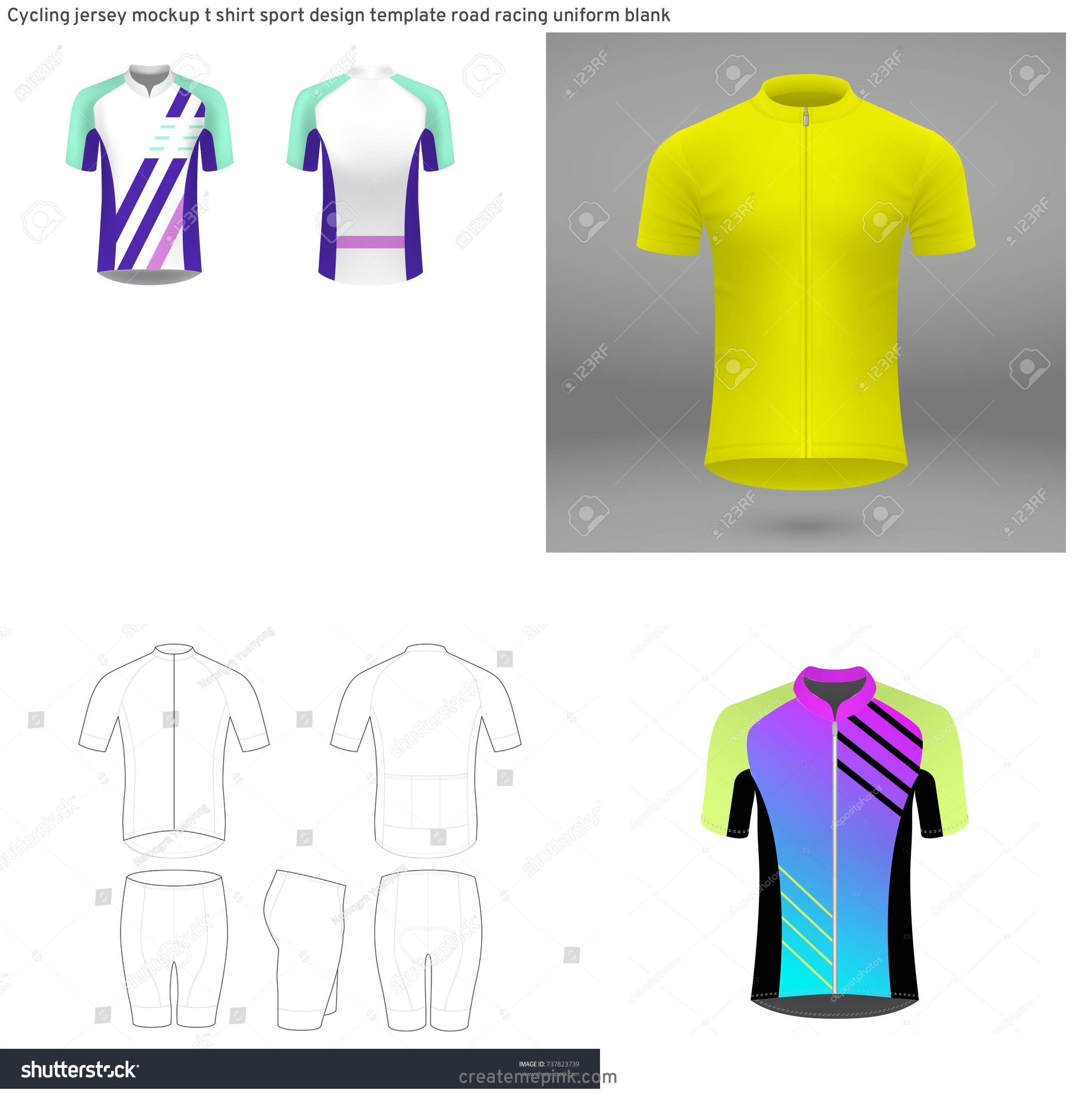 Cycling Kit Template Vector: Cycling Jersey Mockup T Shirt Sport Design Template Road Racing Uniform Blank