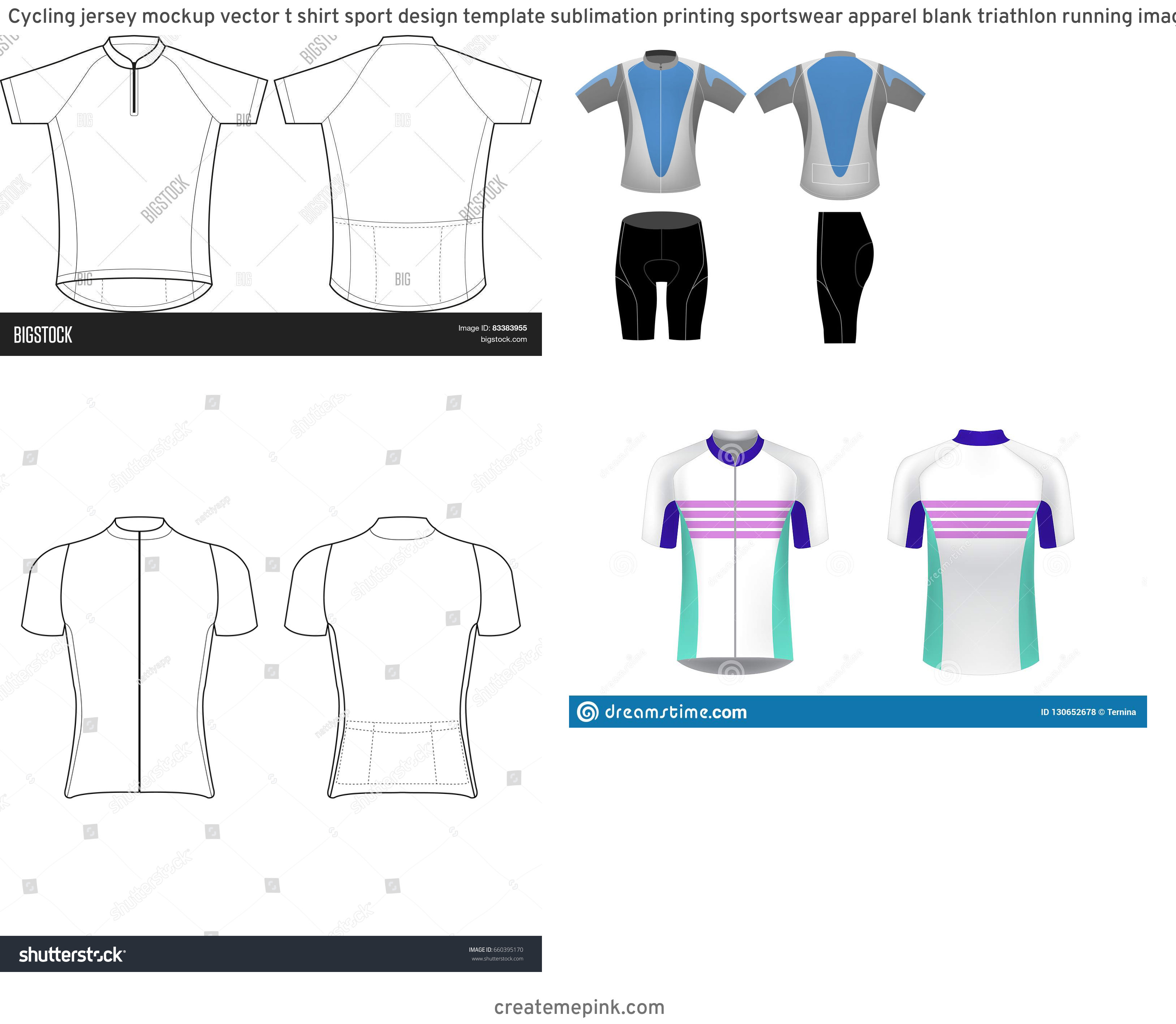 Cycling Kit Template Vector: Cycling Jersey Mockup Vector T Shirt Sport Design Template Sublimation Printing Sportswear Apparel Blank Triathlon Running Image