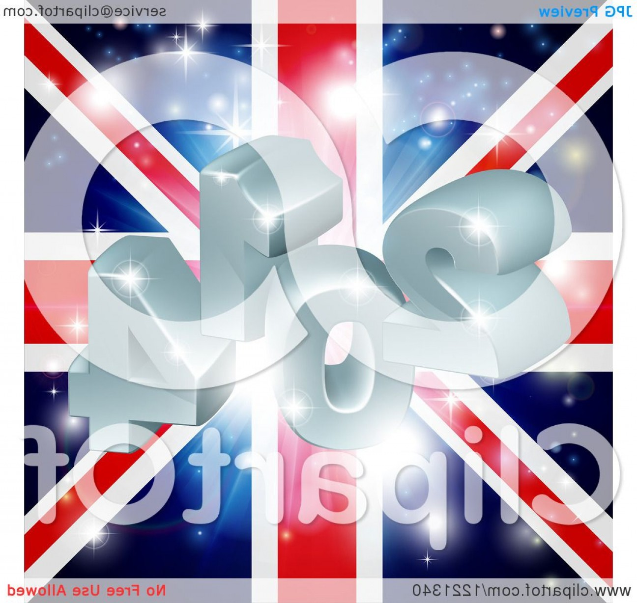 Vector 3D 2014: D And Fireworks Over A Union Jack Flag