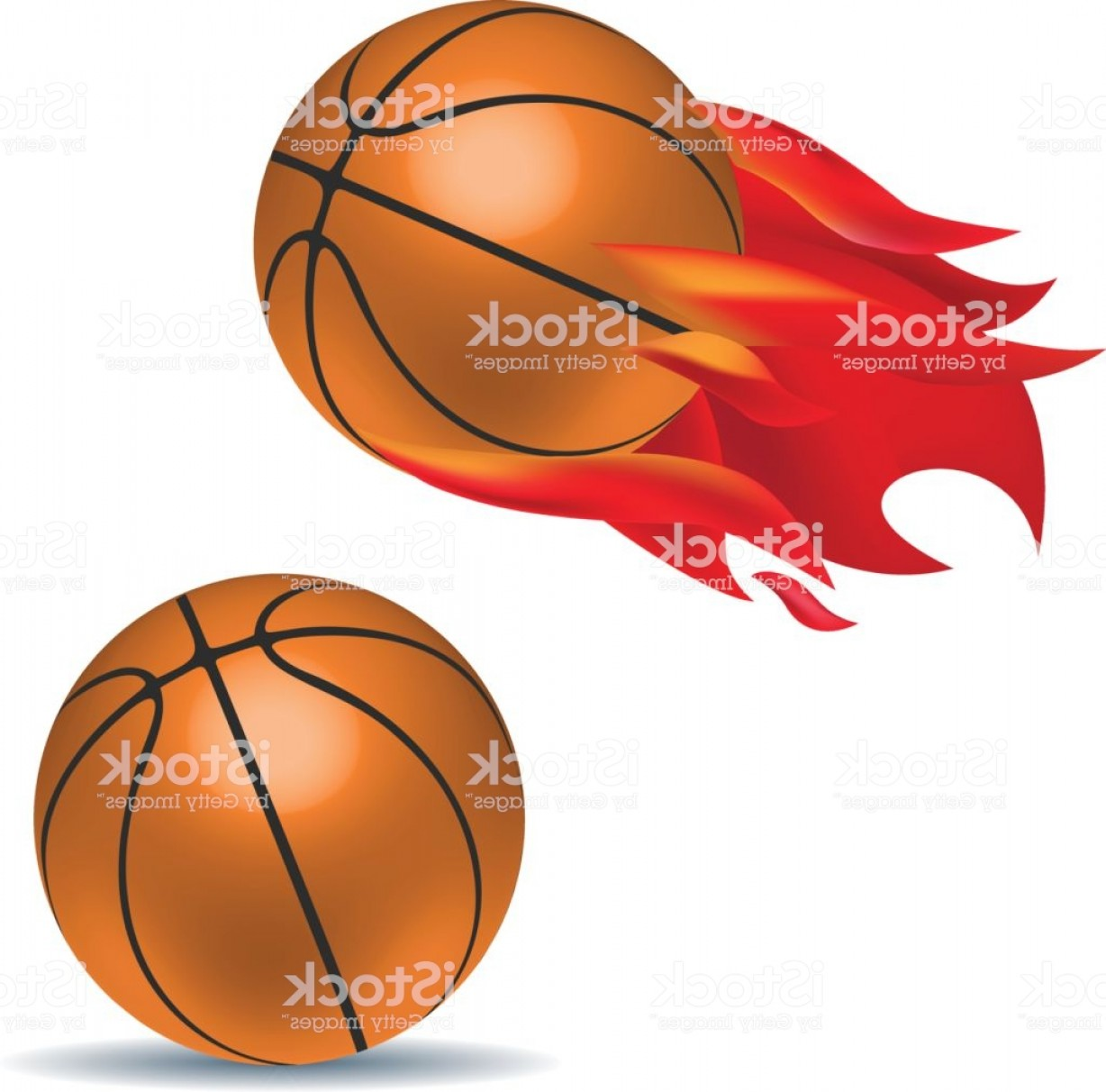 Motion Basketball Vector: D Art Of Orange Black Basketball In Motion With Red Fire Trail Ball With Shadow Gm