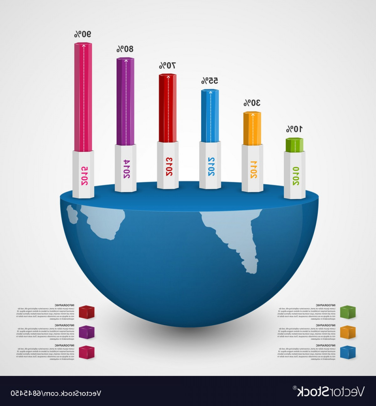 Vector 3D 2014: D Chart Style Infographic Design Template Vector
