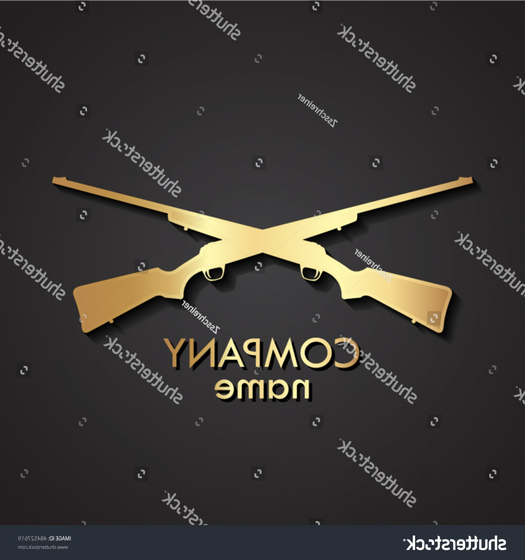 Hunting Rifle Vector Cross: D Crossed Guns Gold Logo Hunting