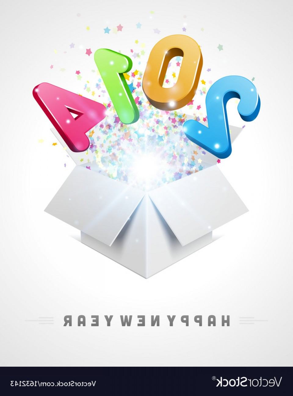 Vector 3D 2014: D Happy New Year D Message Fly Vector