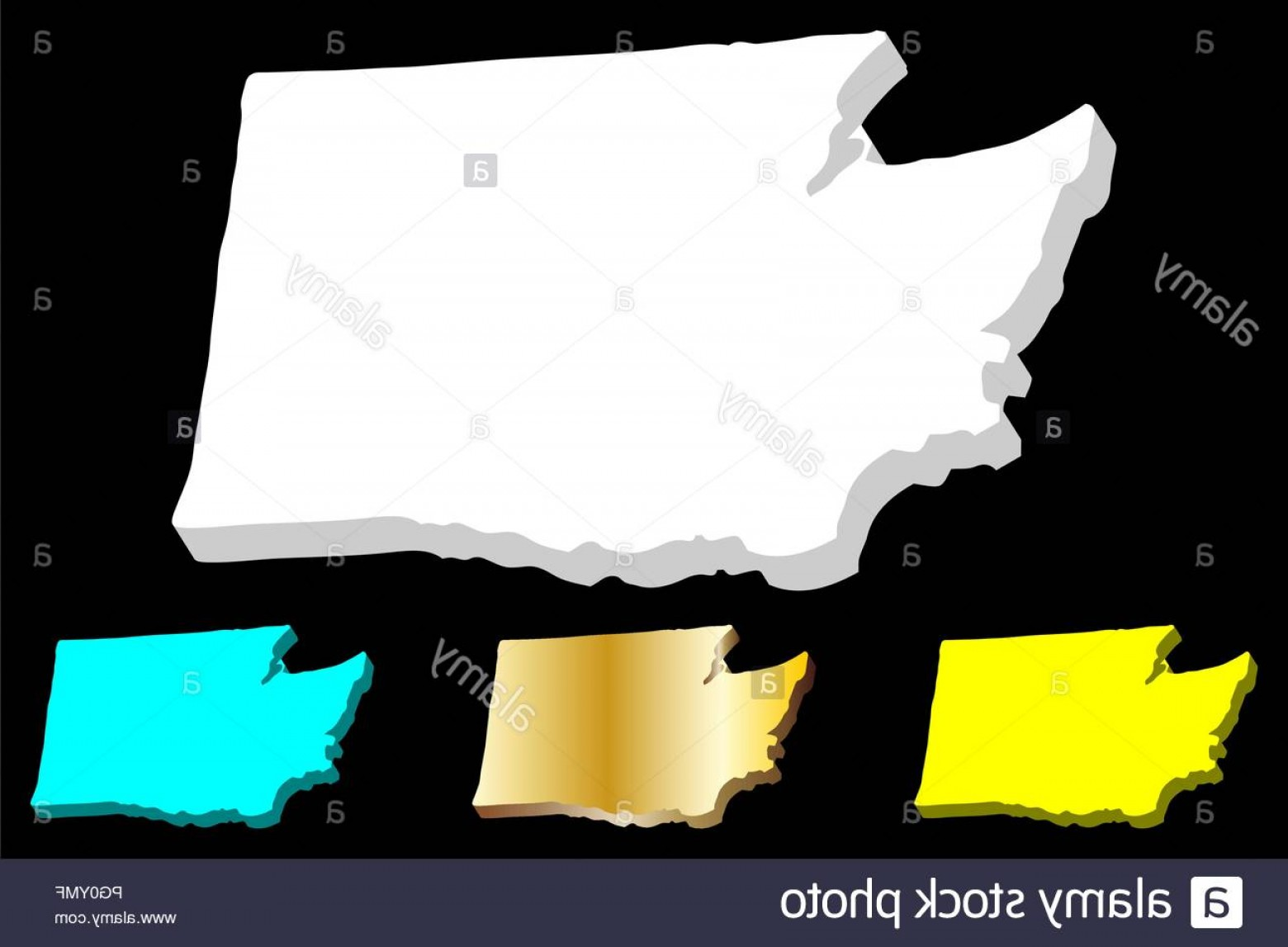 Washington State Vector: D Map Of Washington United States Of America The Evergreen State White Yellow Blue And Gold Vector Illustration Image
