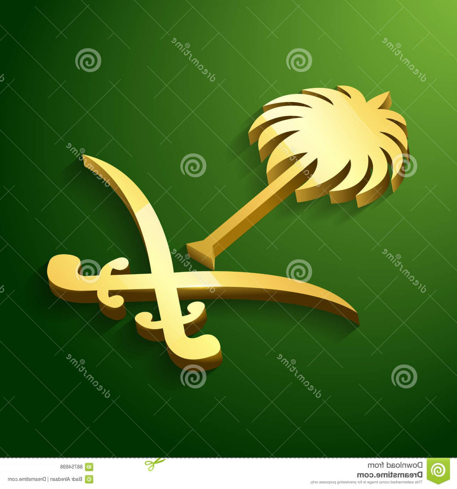 Saudi Sword Vector: D National Emblem Of The Kingdom Of Saudi Arabia With Gold Color And Green Background Vector Illustration Illustration