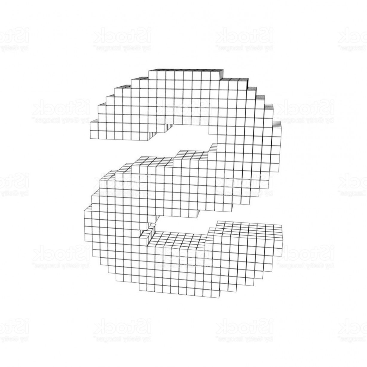 Pixelation Photoshop Vector: D Pixelated Capital Letter S Vector Outline Illustration Gm