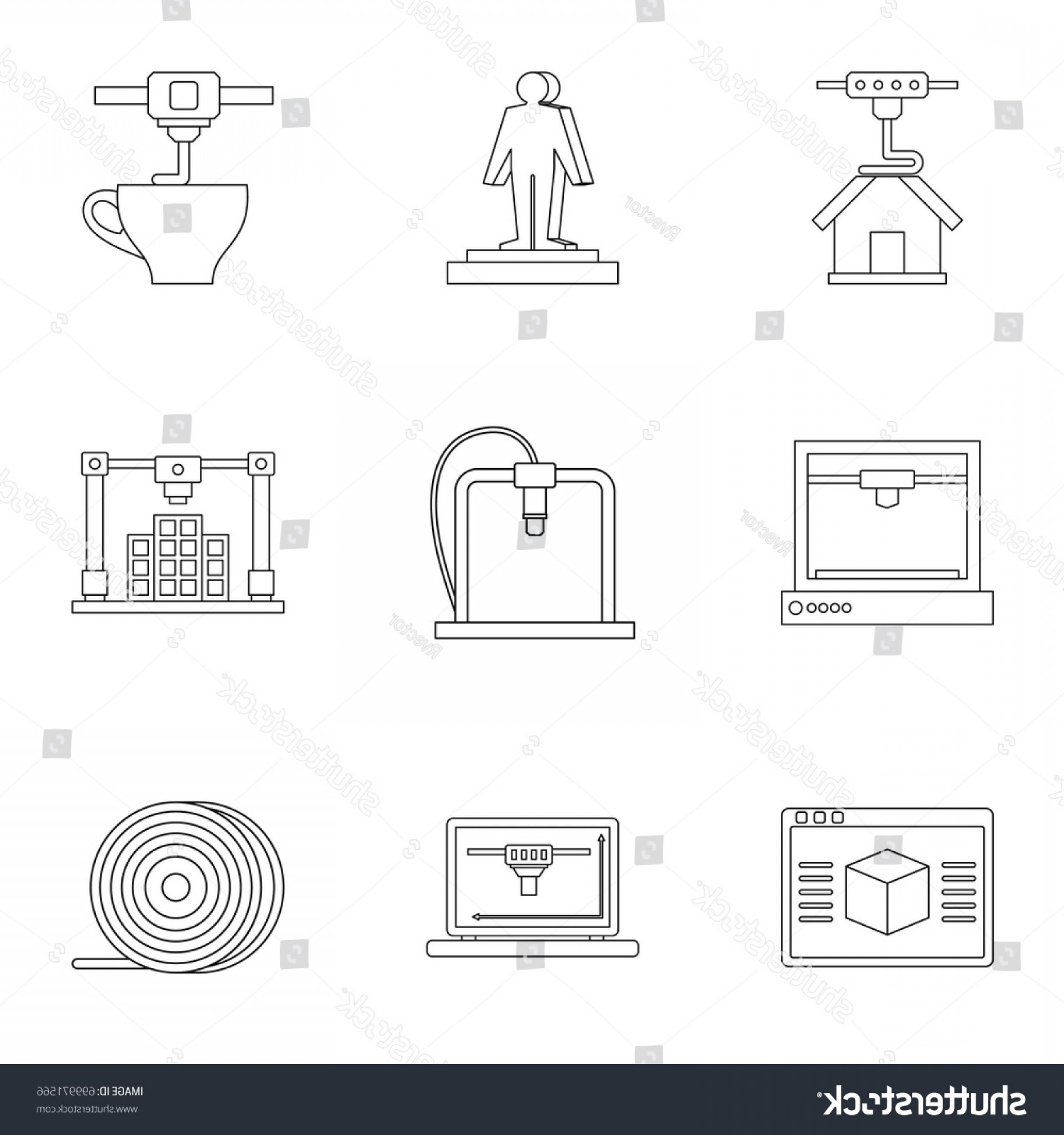 D Night Stanf Vector Graphic: D Printer Construct Icon Set Outline