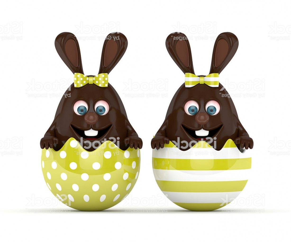 Chocolate Bunny Vector: D Rendering Of Easter Chocolate Bunnies In Egg Shells Gm