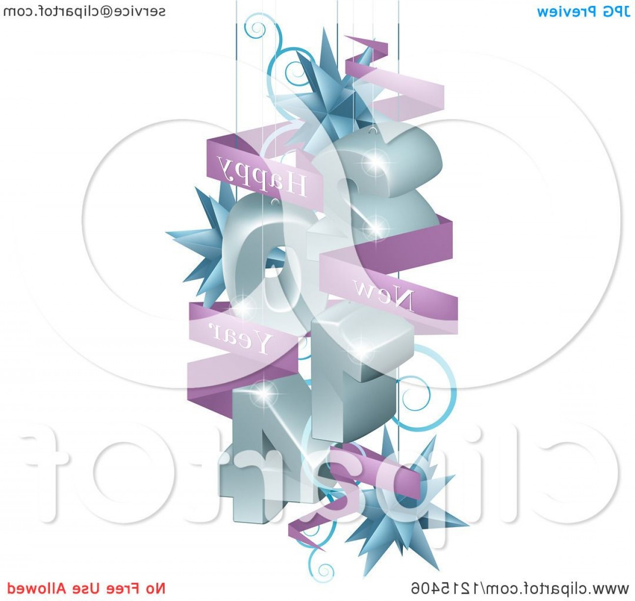 Vector 3D 2014: D Suspended With Star Ornaments And A Happy New Year Greeting Banner